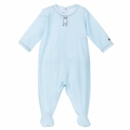 Petit Bateau Gingham Print Footie in Aqua - <b>Sold Out</b>
