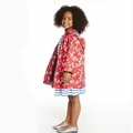 Petit Bateau Girl Japanese Floral Rain Coat in Red