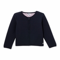 Petit Bateau Girl Polka Dot Cardigan in Navy