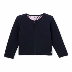 Petit Bateau Girl Polka Dot Cardigan in Navy - <B>Last One size 12Y</B>