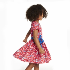 Petit Bateau Girl Short Sleeve Japanese Floral Dress in Red  - <B>Sold Out</B>