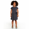 Petit Bateau Girl Short Sleeve Polka Dot Dress in Navy
