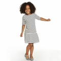 Petit Bateau Girl Short Sleeve Striped Dress in Navy White