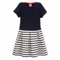Petit Bateau Girls Box Pleat Navy Dress - <B>Last one size 4Y</B>