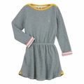 Petit Bateau Green and Grey Milleraies Stripe Big Girl Dress - last one size 4T!