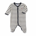 Petit Bateau Iconic Striped Front Snap Footie -  <b>Size 1m left</B>