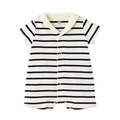 Petit Bateau Iconic Striped Short Sleeve Romper with Sailor Collar - last one size 6M!
