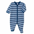 Petit Bateau Multi Striped Front Snap Footie in Blue indigo