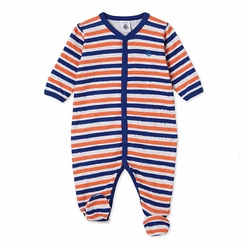 Petit Bateau Multi Striped Front Snap Footie in Red Navy