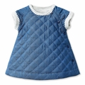 Petit Bateau Quilted Denim Dress - <B>Last One - Size 6m left</B>