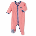 Petit Bateau Red Milleraies Stripe Footie - <B>Last one size 1M</b>