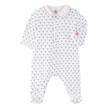 Petit Bateau Sailboat Printed Front Snap Footie with Collar