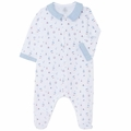 Petit Bateau Sailor Printed Front Snap Footie with Collar