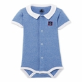 Petit Bateau Short Sleeve Striped Bodysuit With Collar in Blue White - <B>Sold Out</B>