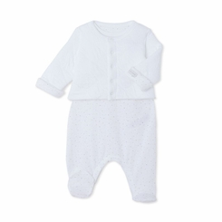 Petit Bateau Sleeveless Footie and Jacket 2 Piece Set in White - <b>Last One - Size 1m</b>