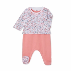 Petit Bateau Sleevless Footie and Floral Jacket 2 Piece Set  - <B>Sold Out</B>