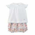 Petit Bateau Solid Short Sleeve Tee and Cherry Printed Bloomers 2 Piece Set