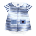 Petit Bateau Striped Short Sleeve Bodysuit Dress with Pockets
