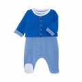 Petit Bateau Striped Sleeveless Footie with Jacket 2 Piece Set in Blue