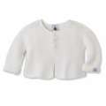 Petit Bateau Unisex Knit Cotton Cardigan in White - <B>size 18m left!</b>