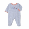 Petit Bateau Velour Back Snap Footie with Graphic in Grey