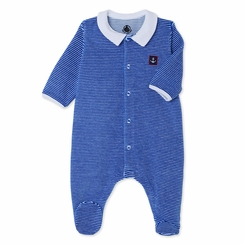Petit Bateau Velour Striped Front Snap Footie with Collar