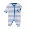 Petit Bateau Velour Wide Striped Front Snap Footie in Grey White -  <b>Sold Out</B>