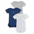 Petit Bateau Vintage Nautical 3 Pack Short Sleeve Bodysuits - <B>Last one size 12m</B>