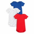Petit Bateau Vintage Racecar 3 Pack Short Sleeve Bodysuits For Baby Boy <B>Size 12m left</B>