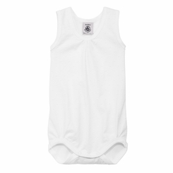 Petit Bateau White Sleeveless Bodysuit with Tone on Tone Polka Dots -<B>Sold Out</B>