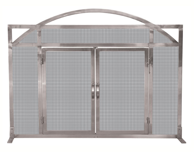 single panel pewter fireplace screen with doors rh fireplacescreenshop com pewter leaded glass fireplace screen Fireplace Inserts for Screens