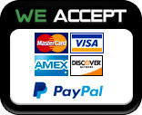 We accept Visa, Master Card, American Express, and Discover Credit Cards