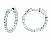 3 Pointer diamond hoop earrings