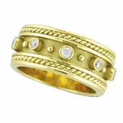 Antique Style Bezel Set Diamond Ring, 18K Yellow Gold