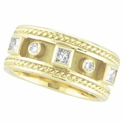 Antique Style Diamond Ring Band 18K Yellow Gold
