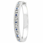 Antique Style Diamond & Sapphire Bangle
