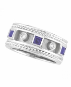 Antique Style Sapphire & Diamond Ring, 14K White Gold