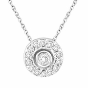 Bezel Diamond Pendant Necklace White Gold
