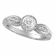 Bezel Diamond Ring 14K White Gold