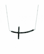 Black diamond cross necklace