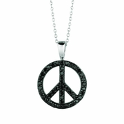 Black diamond peace sign necklace