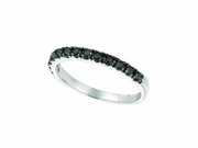 Black Diamond Stackable Ring, 14K White Gold