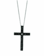Black & white diamond cross necklace