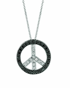Black & White Diamond Peace Sign Pendant Necklace
