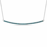 Blue diamond bar necklace