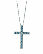 Blue & white diamond cross necklace