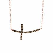 Champagne diamond cross necklace