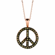 Champagne diamond peace sign necklace