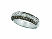 Champagne & White Diamond Fashion Ring, 14K White Gold