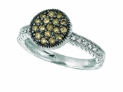 Champagne & white diamond round ring